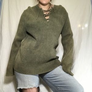 Olive Green Express Chunky Sweater